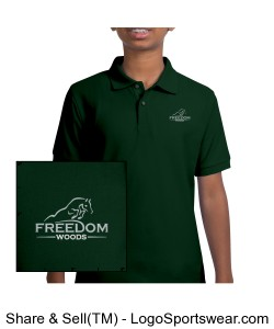 Youth Polo Hunter Green Design Zoom
