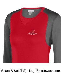 Ladies Long Sleeve - Red and Grey Design Zoom